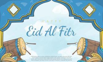 banner eid al fitr disegnato a mano con illustrazione di ornamento islamico vettore