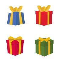 set di confezione regalo, collezione di regali, scatole, regali decorativi. vettore