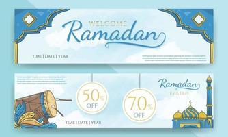 banner di vendita di ramadan e ramadan di benvenuto disegnato a mano vettore