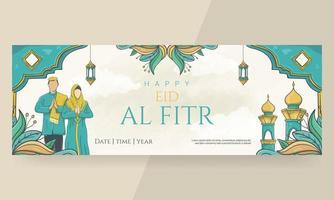 banner di eid al fitr felice disegnato a mano vettore