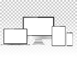 set realistico di monitor, laptop, tablet e smartphone vettore