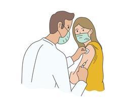 paziente disegnato a mano che indossa una maschera che ottiene il loro vaccino, vaccino contro il coronavirus vettore