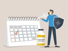 l'uomo che indossa una maschera in piedi accanto al calendario tiene uno scudo e inietta il vaccino contro il coronavirus, è ora di vaccinare il concetto vettore