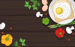uova su pane tostato con verdure sulla tavola di legno vettore
