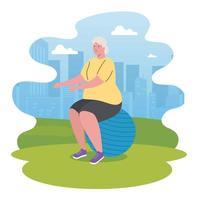 carino vecchia donna pratica esercizio all'aperto, sport e concetto di ricreazione vettore