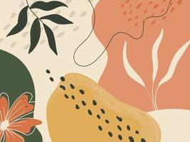 carta da parati astratta disegnata a mano con forme organiche vettore