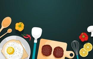 uova su pane tostato con carne e verdure sulla tavola di legno vettore