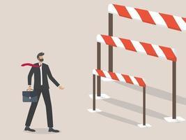 problemi e sfide dell'uomo d'affari, uomo d'affari in piedi davanti a una barriera o ostacolo. vettore