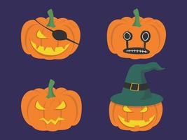 set di zucche di halloween in costumi di personaggi di halloween vettore