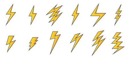 set di icone di fulmini vettore