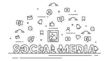 illustrazione social media business con icone in stile linea vettore