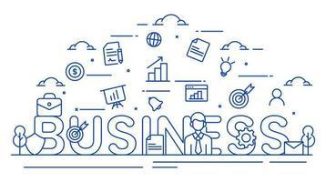 illustrazione parola affari con icone in stile linea vettore