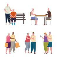 gruppo di anziani che svolgono attività diverse vettore