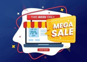 mega promozione modello di banner di vendita con laptop vettore