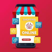 promozione del modello di banner dello shopping online con il telefono. concetto di marketing digitale vettore