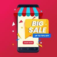 grande promozione del modello di banner di vendita con il telefono. concetto di marketing digitale vettore