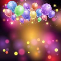 Palloncini e luci bokeh vettore