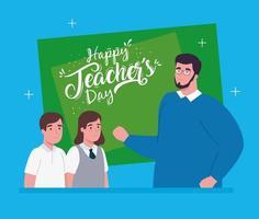 felice giornata dell'insegnante, con insegnante e studenti vettore