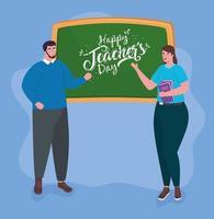 felice giornata degli insegnanti, con professori e lavagna vettore
