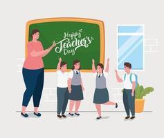 felice giornata dell'insegnante, con insegnante e simpatici studenti in classe vettore