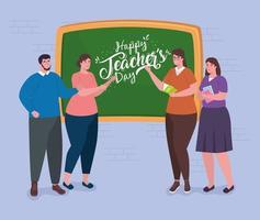 felice giornata degli insegnanti, con un gruppo di insegnanti e lavagna vettore