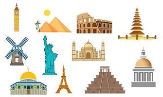 insieme di monumenti ed edifici in tutto il mondo design illustrazione vettoriale stock