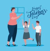 felice giornata dell'insegnante, con insegnante e studenti carini vettore