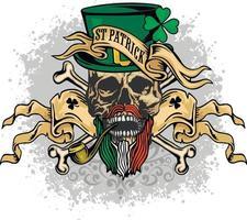 teschio di San Patrizio con cappello verde, magliette di design vintage grunge vettore