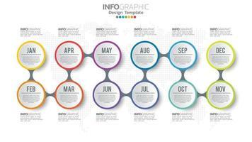modello di infografica timeline con 12 mesi. vettore