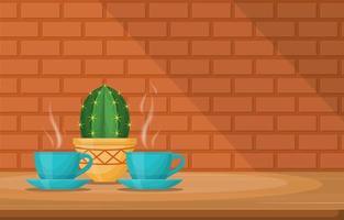 tazze di bevanda calda con un cactus su un tavolo da un muro di mattoni vettore
