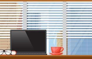 tazza di tè o caffè su una scrivania in un ufficio cittadino vettore