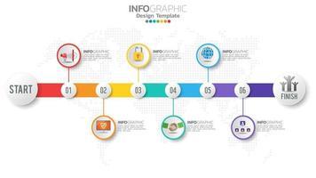 elemento di colore infograph 6 passaggi con freccia, diagramma grafico, concetto di marketing online aziendale. vettore