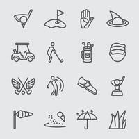 set di icone di linea sport golf vettore