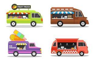 set di quattro food truck con colori vivaci e prodotti diversi vettore