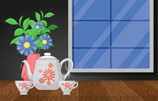 tazze di tè caldo con una teiera e fiori su un tavolo di legno da una finestra vettore