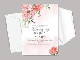 bellissimo modello di carta di invito matrimonio floreale vettore