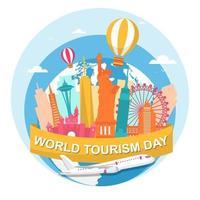 skyline degli Stati Uniti sul globo, giornata mondiale del turismo vettore