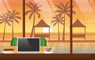 una tazza di tè su un tavolo con il computer portatile in bali beach cafe al tramonto vettore