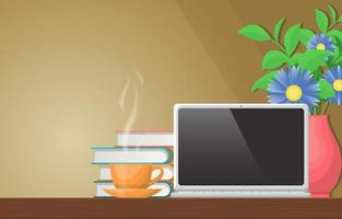 tazza di tè o caffè su una scrivania con fiori vettore