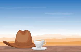 una tazza di tè e un cappello da cowboy nell'illustrazione di vista del paesaggio del deserto vettore