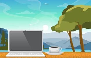 laptop con una tazza di tè su un tavolo nell'illustrazione di vista lago di montagna vettore