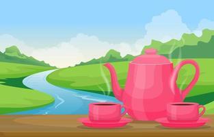 teiera e tazze sul tavolo con vista sul fiume e sul paesaggio forestale vettore