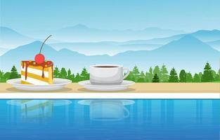 una tazza di tè e uno spuntino a bordo piscina nell'illustrazione di vista della natura della montagna vettore