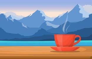 una tazza di tè su un tavolo con vista sul lago di montagna vettore