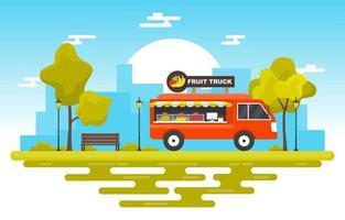 camion di cibo che vende frutta nel parco vettore