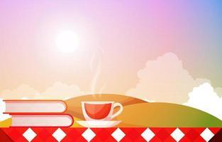 tazze di tè e libri su un tavolo con vista sulla natura vettore