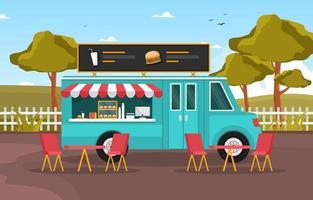 camion di cibo che vende hamburger nel parco vettore
