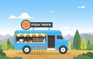 camion di cibo che vende pizza nel parco vettore