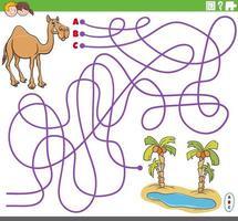 gioco del labirinto educativo con cammello e oasi dei cartoni animati vettore