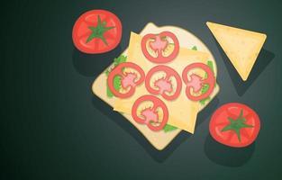 panino aperto con formaggio e pomodori vettore